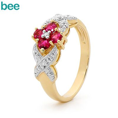 Created Ruby and Diamond ring