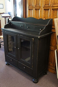 Broyhill Attic Heirlooms Black Cupboard Chest Cabinet Glass Distressed