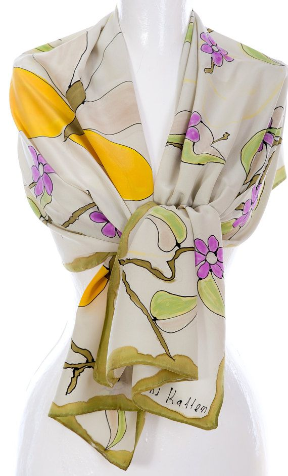 Hand Painted Crepe De Chine Scarf Spring Beauty Fashion