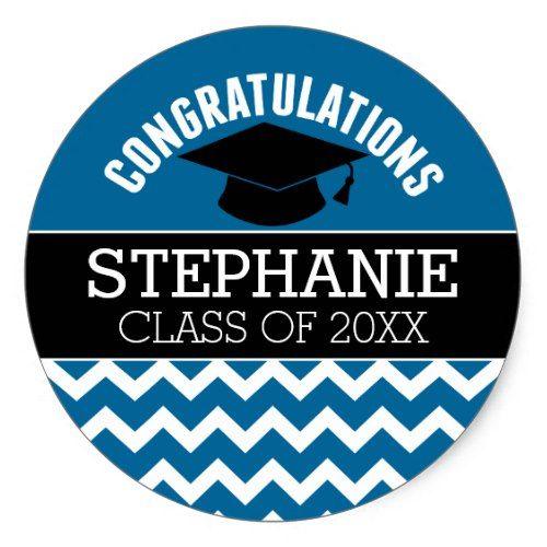 Congratulations Graduate - Blue Black Graduation Classic Round Sticker