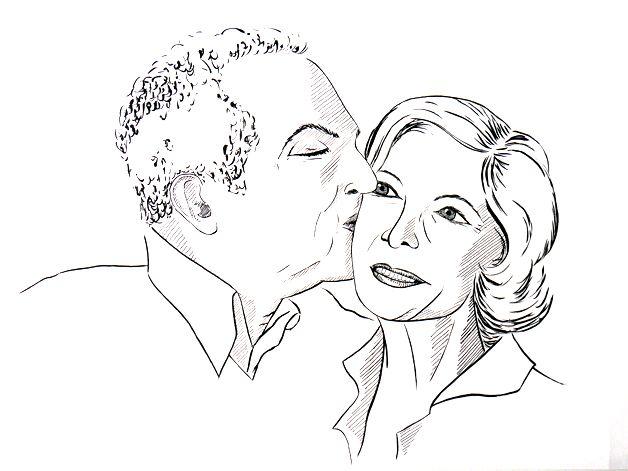 Doppelportrait Paar, Tusche auf Künstlerpapier Din A4