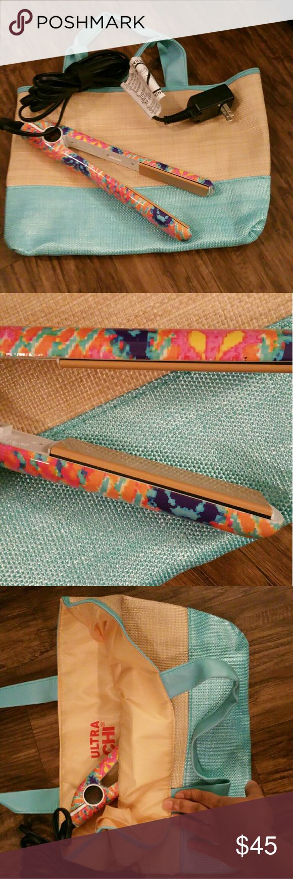 Coral Reef Ulta Chi Flat Iron One inch ceramic tourmaline flat iron by Ultra Chi. Used a few times. Heats up to 392? F. Coordinating tote included. Ultra Chi Other