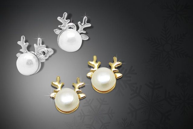 Silver or Gold Pearl Reindeer Earrings