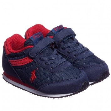 Ralph Lauren Boys Navy Blue and Red Velcro Trainers at Childrensalon.com