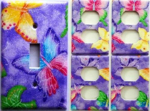 Purple Pink Glitter Butterfly Light Switch Outlet Cover Set 1&4 Girls Decor