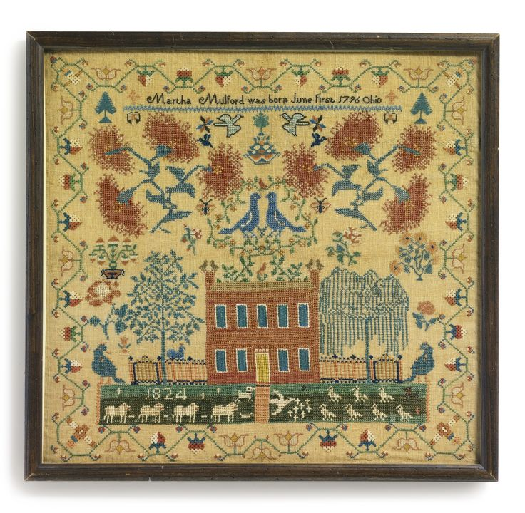 Needlework Sampler, Martha Mulford (1796-1868), New Carlisle, Clark County, Ohio, Dated 1824