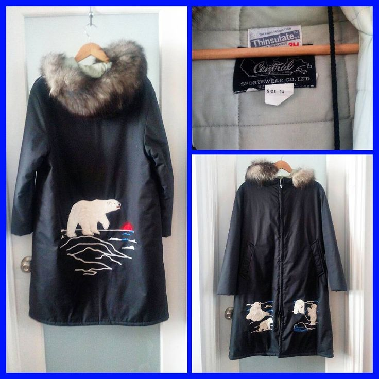 "Vintage black Thinsulate Inuit parka with embroidered polar bears, fur collar, quilted lining, drawstring hood, hidden cuffs and internal adjustable waistband.  Made in Winnipeg.  Marked size Women's 12, chest measures up to 24""."