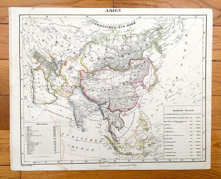 Antique 1855 Asia Map From Sohr Berghaus Atlas Par Carl Flemming
