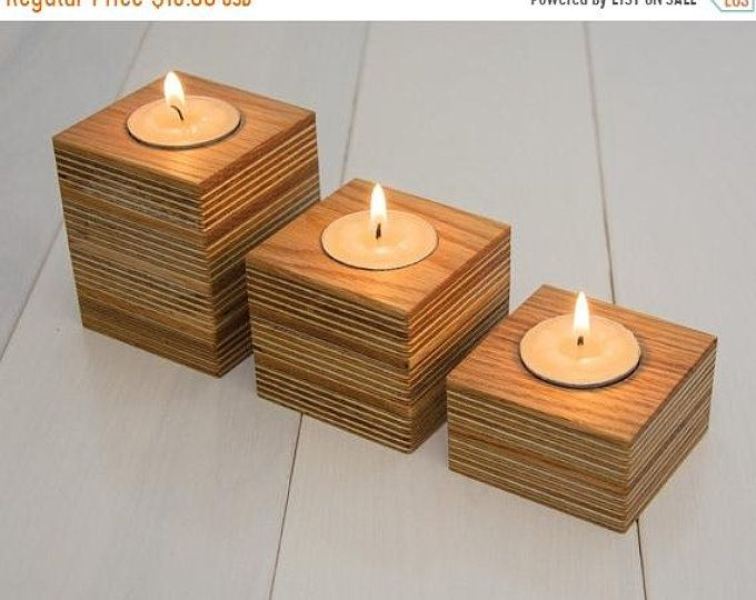 Sale Three Wooden Candle Holders Handmade Reclaimed Wood Oak Wood Modern Wooden Candle Holders Na Wooden Candle Holders Wood Candle Holders Wooden Candles