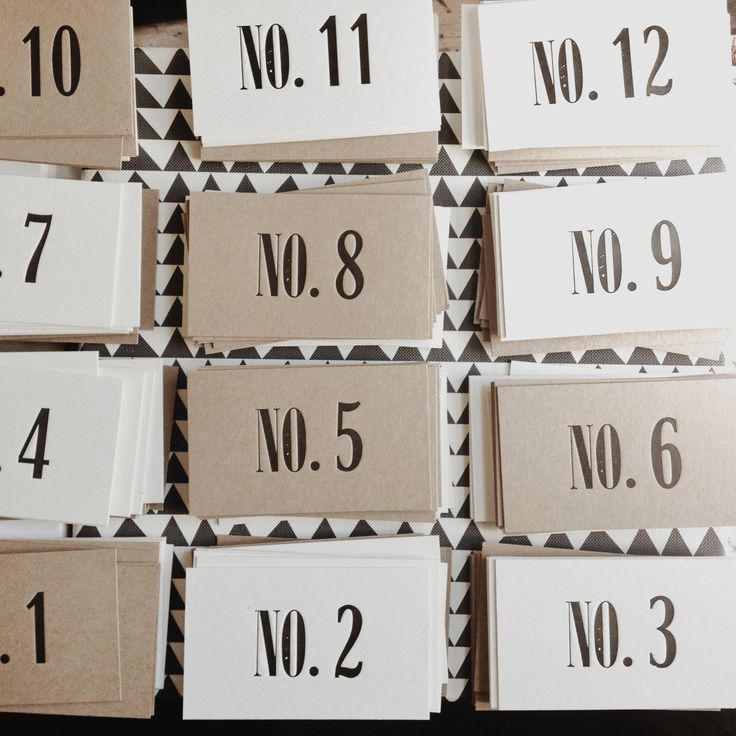 Letterpress table numbers - ideal for the stylish wedding table www.thecollectorsroom.com.au