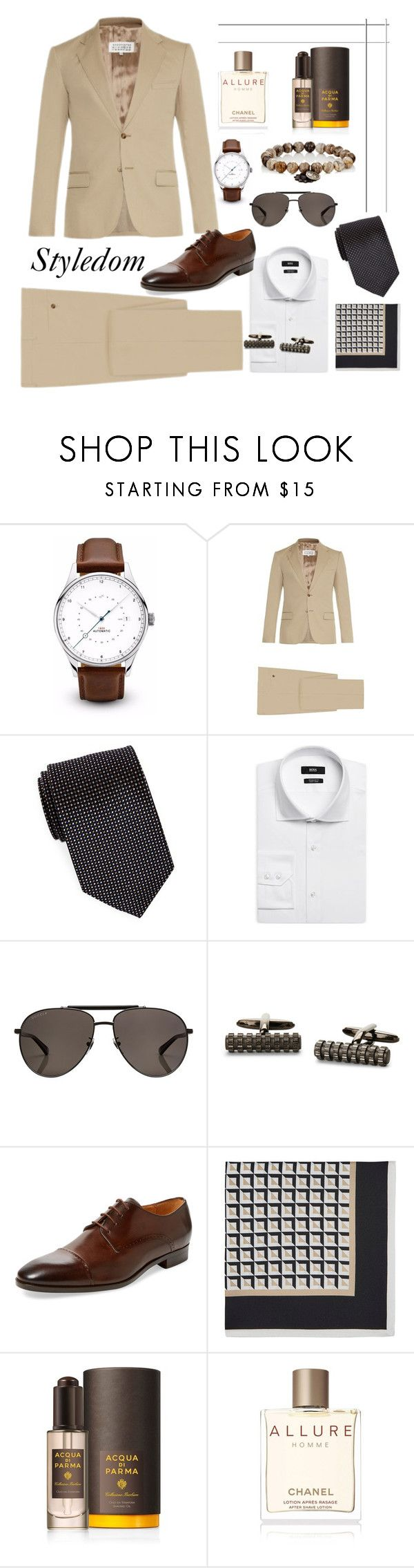 """Daytime wedding"" by khouryolivia ❤ liked on Polyvore featuring Maison Margiela, BLACK BROWN 1826, HUGO, Gucci, Kenneth Cole Reaction, Saks Fifth Avenue, Bigi, Acqua di Parma, Chanel and Miracle Icons"