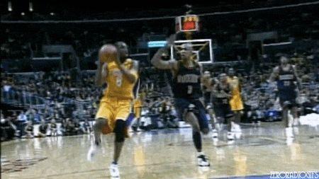 Kobe Bryant fastbreak dunk gif