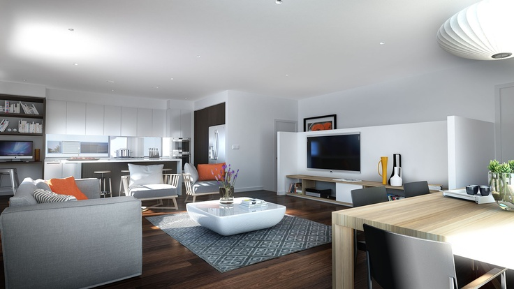 Open plan living including kitchen with island bench, family and dining.  Includes timber flooring throughout living areas and fibre to the home.