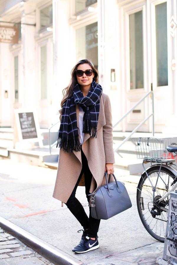 Weekend Vibes - Harris Wharf London coat // Rag & Bone scarf Paige Denim jeans // Current/Elliott tee // Nike sneakers Givenchy bag // Celine sunglasses Friday, December 11, 2015
