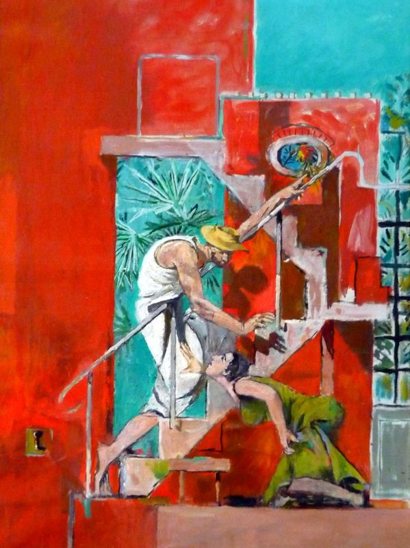 Noli me tangere by Graham Sutherland  (1961). One of two altarpiece paintings commissioned for Chichester Cathedral. This one, which was chosen, shows Christ with a straw hat, as Mary Magdalene allegedly mistook him for a gardener.