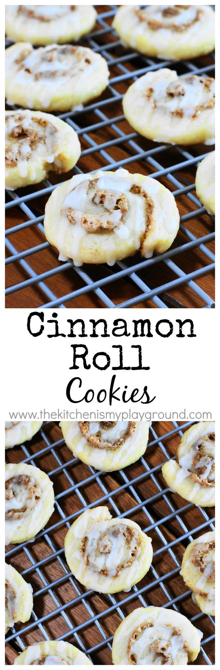 Cinnamon Roll Cookies www.thekitchenismyplayground.com