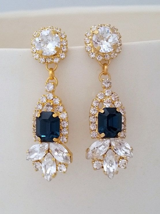 Bridal Chandelier Earrings Navy Blue Swarovski Crystal Bridesmaids
