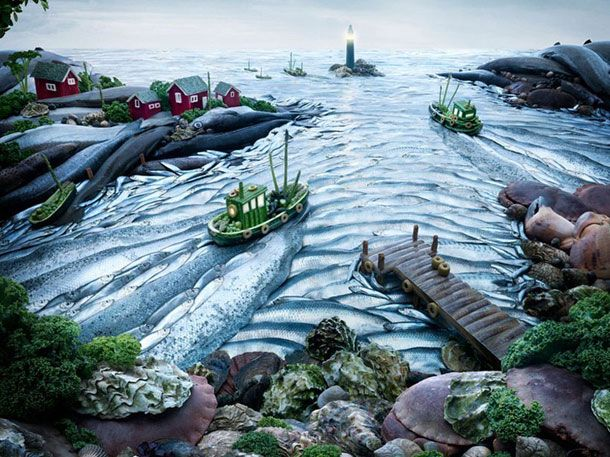 Landscapes made using food.