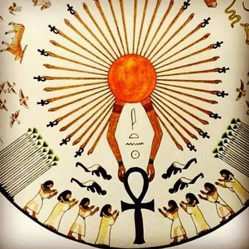 Aten. I think the Egyptians worshiped the god of the sun because he gave them gifts. Maybe such as light, that's an Important thing. But I don't know, just guessing.