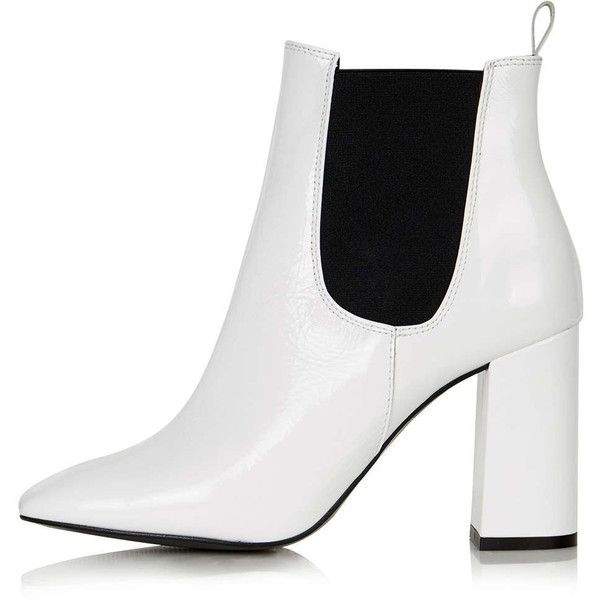 TopShop Maria Flared Heel Chelsea Boots (200 BGN) ❤ liked on Polyvore featuring shoes, boots, ankle booties, white, ankle boots, short boots, high heel booties, leather booties and white booties