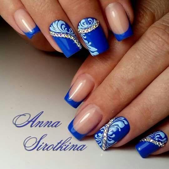 Фото дизайн ногтей синий цвет
