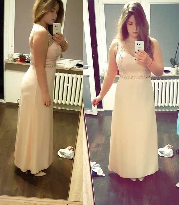 Sukienka maxi studniówka herbaciana koraliki perfekcyjna idealna perełki siateczka tiul L XL 40 42 - vinted.pl