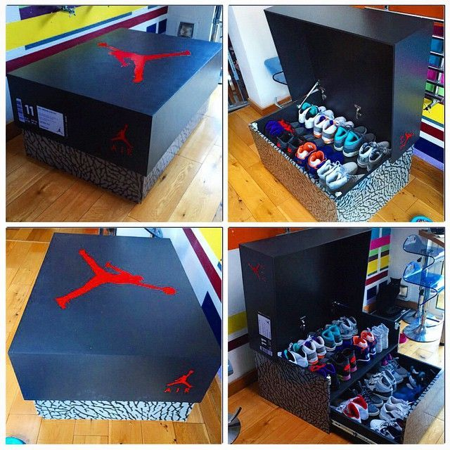 Take a look at the most creative Air Jordan storage box you'll see. The  oversized sneaker box is made of wood, and features a drawer and pop-up  storage .