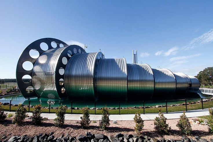 The Gippsland Water Factory's Vortex Centre 650m2 facility by Australian practice DesignInc, located in the innovative waste water treatment and recycling system, in the Gippsland region of Victoria, Australia. Fascinating!