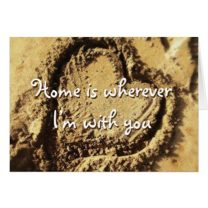 """""""Home is"""" heart in sand photo blank inside card - photography gifts diy custom unique special"""