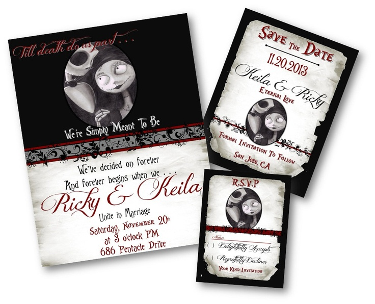 359 best gothic/nightmare before christmas wedding images on, Wedding invitations