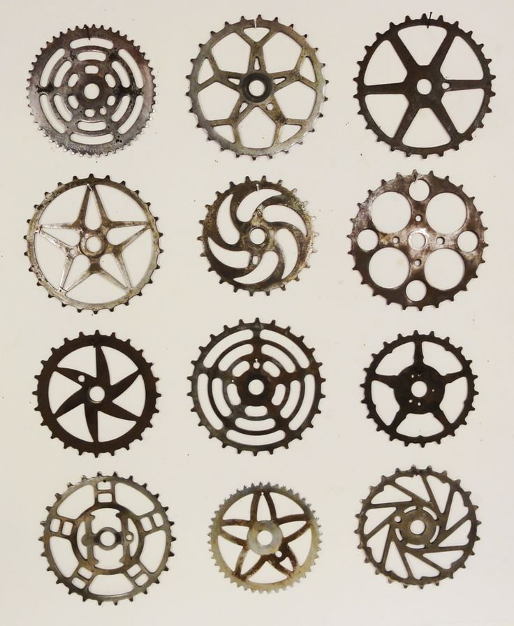 Typology of bike sprockets. via Lost Found Art.