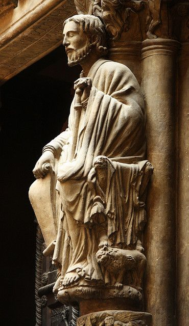 Santiago de Compostela.  This plaster cast of Saint James from the portal of his great pilgrimage shrine in Compostela is in the V Museum, London.