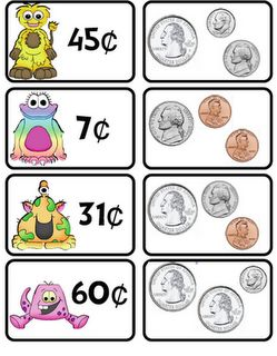 A money matching game not only reinforces lessons on the monetary value of each different type of coin, but it also brings home the idea that items like toys cost money. The concept of wants versus needs could also be introduced by including necessary items like food among the matching cards featured on the left here in addition to fun things like games or toys.