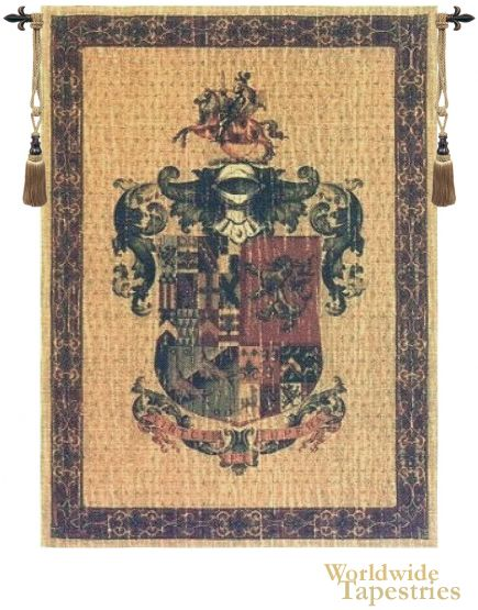 Love coat of arms wall decor? The knight and his armor are seen in this royal crest, including the rearing horseback at the top of the design.