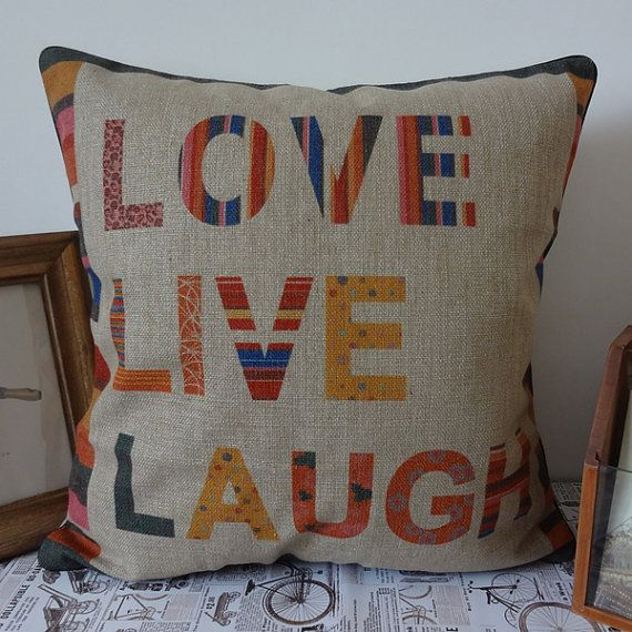 45x45cm Colorful Live Love Laugh Linen Cushion by SnowLittleShop, $16.00