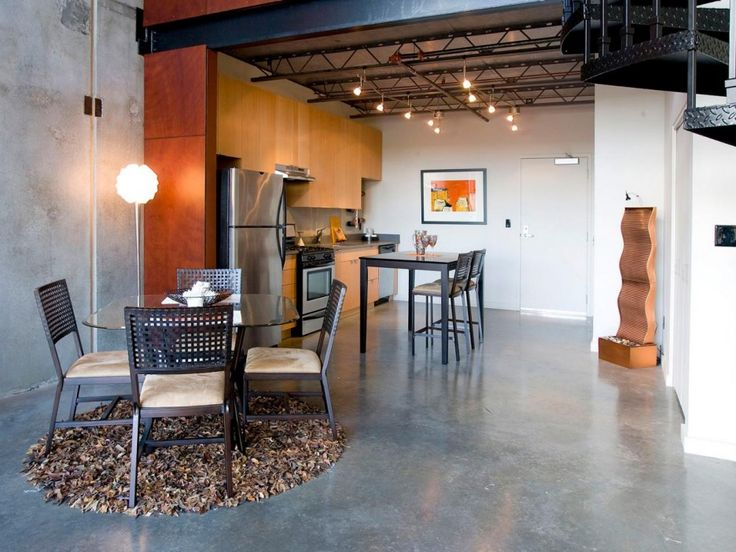 Kitchen. Marvelous Long Kitchen-Dining Design Offer Industrial Style Alternative With Seamless Concrete Tile Floor Blended With Indoor Fountain Treatment Also Iron Dining Set Ideas. Boasts Kitchen Floor Space With Alluring Tiles Design Ideas