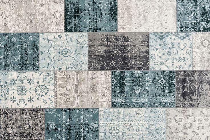 kelim vloerkleed patchwork vintage stoer donkergrijs blauw