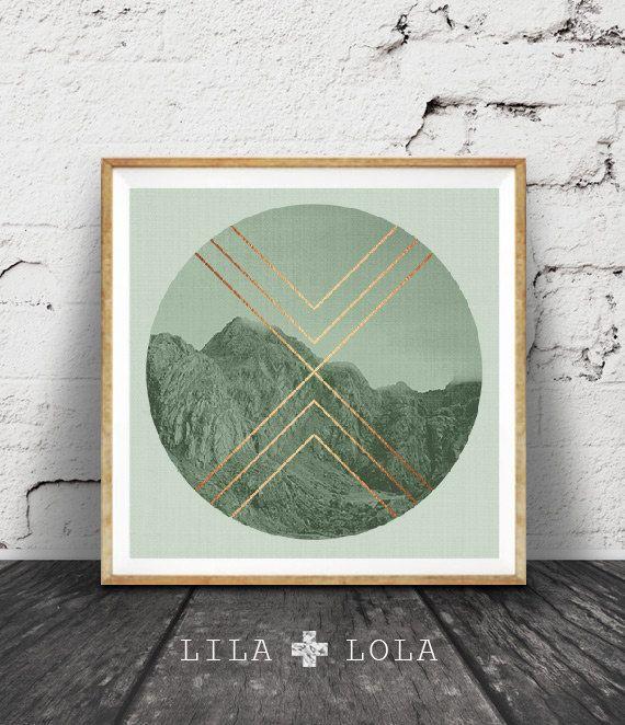 Geometric Print, Sage Green Decor, Mint Green, Faux Rose Gold Foil, Mountain Photo, Moody Photography, Scandinavian Wall Art, Copper Print