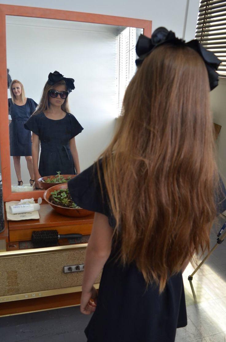 Mother daughter photo shoot. Black dress