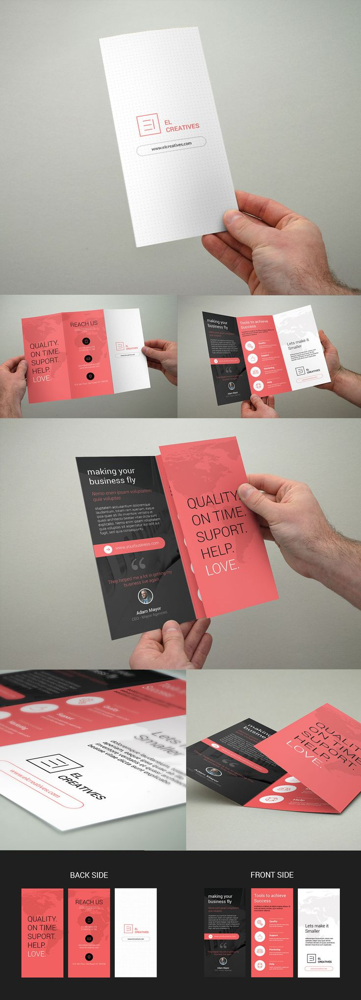 This brochure has a really good contrast. The use of the red, black, and white colors really makes it simple, yet stand out. It is easy to read and scan from page to page. It caught my eye when I first saw it.   Source: Bouncy Studio on Behance https://www.behance.net/gallery/26140923/Minimal-Corporate-Trifold-Brochure