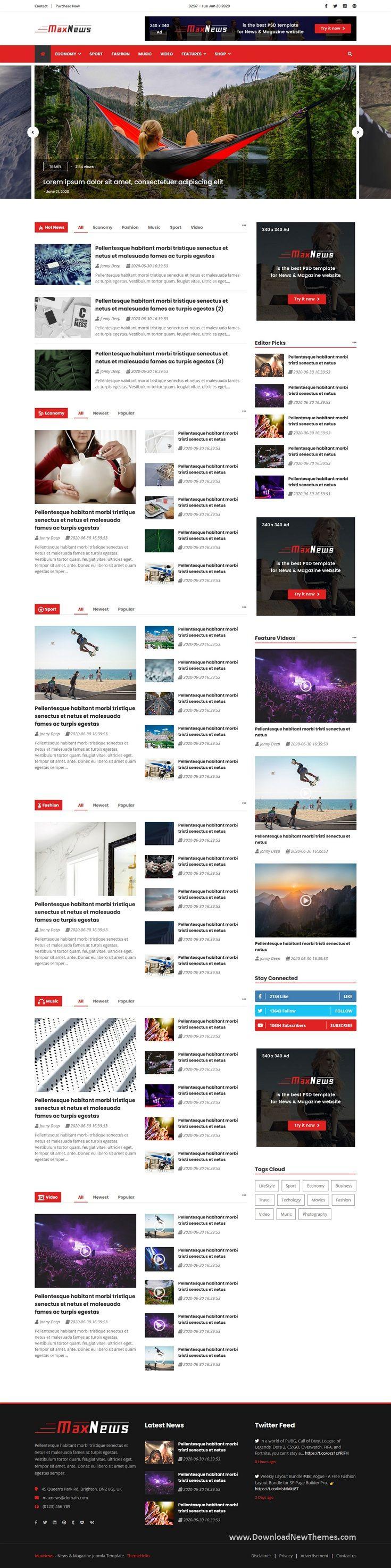 MaxNews News & Magazine Joomla Template in 2020 Joomla