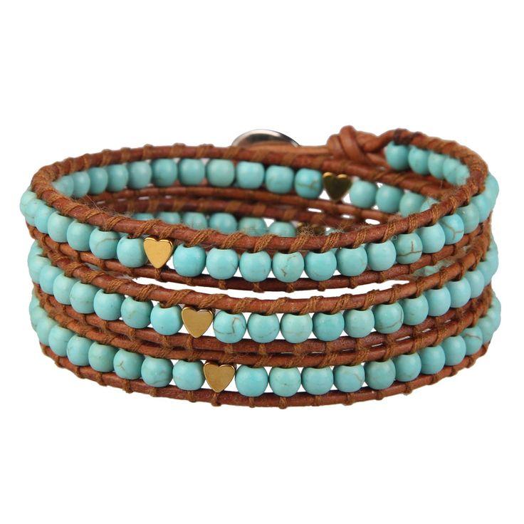KELITCH Bracelet for Men Women Personalised Turquoise Lapis Lazuli Nugget Bead Handmade 5 Wrap Bracelet on Brown Leather injrYBM