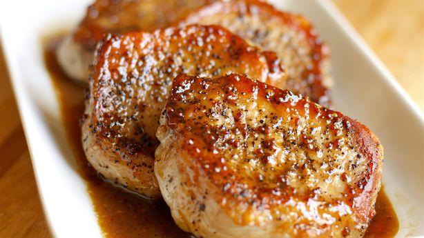 Apple Cider Pork Chops- add 1 tbs corn starch to 1/4 c water over med heat to thicken glaze quicker