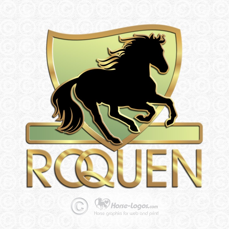 Custom logo design created for Roquen. Logo elements; galloping horse and gold and green colored shield.  #gold #trademark #logo #horse #equine #heart #brand #branding #equestrian #art