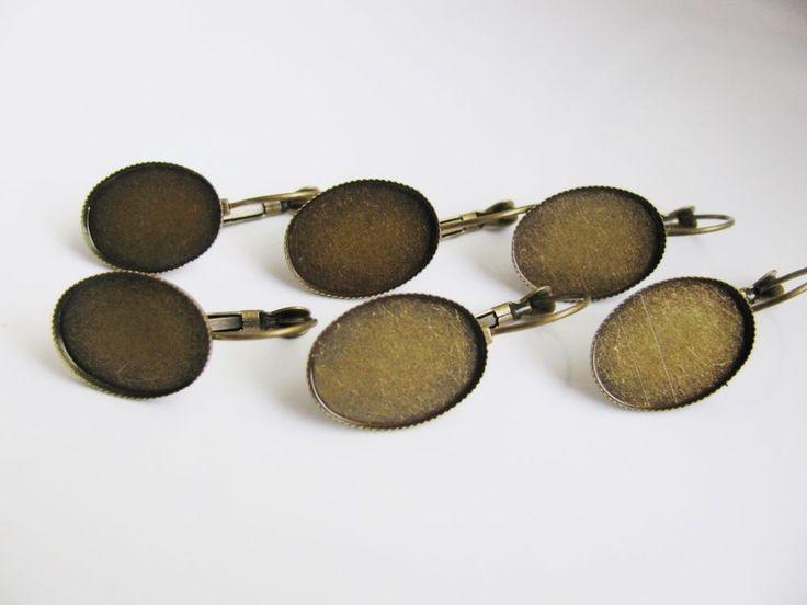 6 x  Cabochon Fassung für Ohrringe, brozefarben, Nostalgie,  Vintage Schmuck