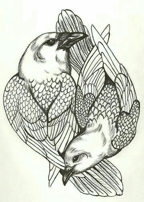 1000 id es sur le th me tatouage de deux oiseaux sur - Tatouage a deux ...