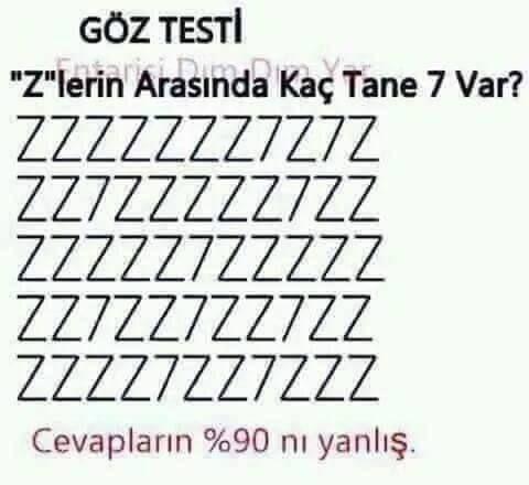 Göz Testi: Z'lerin arasında kaç tane 7 var?