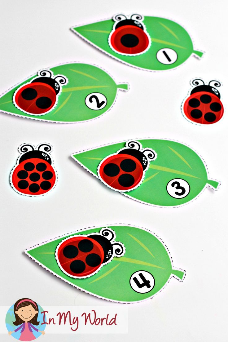 Spring Preschool Centers. Ladybug dots and numeral leaves match.  http://www.inmyworld.com.au/spring-preschool-centers/