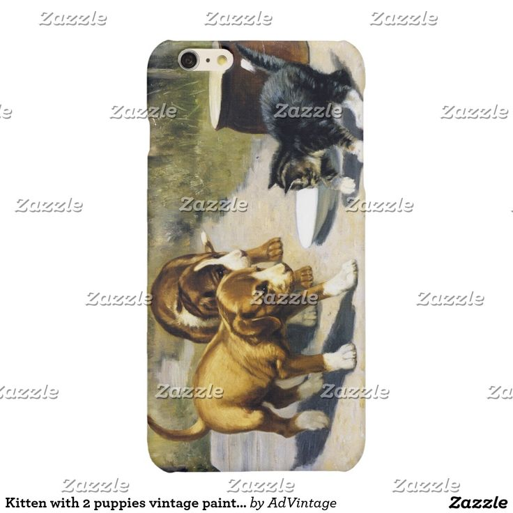 Kitten with 2 puppies vintage painting glossy iPhone 6 plus case