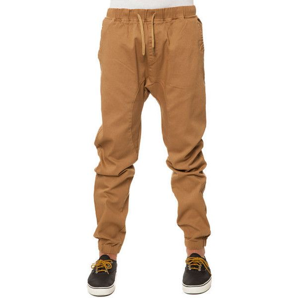 Scout Pants Twill Cuff Jogger Khaki Beige ($80) ❤ liked on Polyvore featuring pants, brown khaki pants, cuffed trousers, womens trousers, jogging trousers and jogger pants